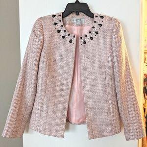 Tahari pink tweed blazer